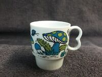 MUSHROOM MUG stackable teal green white japan dragonfly ceramic coffee tea cup
