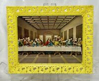 "VTG The Last Supper Print 8x10"" Yellow Plastic Ornate Frame Soroka Sales Inc"