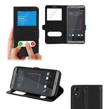 Coque Etui Housse Cuir pour HTC DESIRE 530 avec Fenêtre Décrochage Appel - NOIR