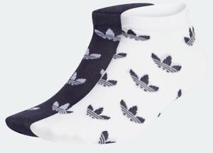 Adidas TREFOIL ALLOVER PRINT LINER SOCKS 2 PAIRS  White, Navy Size Large NIP