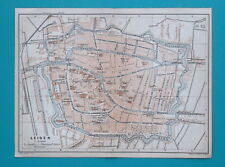 "1905 BAEDEKER MAP - HOLLAND Leiden City Plan 6 x 8"" (15,5 x 21 cm)"