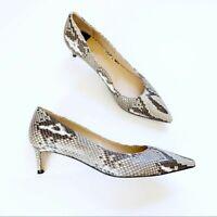 Stuart Weitzman Cindy Python Kitten Heel womens size US 7.5 Pump Gray leather