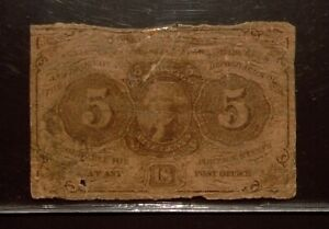 Fractional Currency   5 cents   Circulated   Monogram