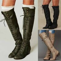 Womens Vintage Roman Knight Motorcycle Leather Boots Knee High Shoes Lace up NEW
