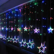 Bunt LED Flash Lichter Lichterkette Stern Vorhang Fenster Baum Weihnachtsdeko