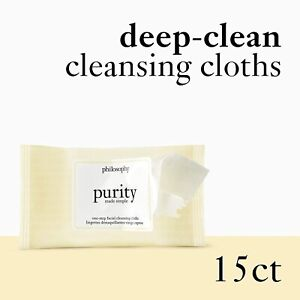 Philosophy Purity One Step Facial Cleansing Cloth Makeup Remover 15ct *FREE GIFT