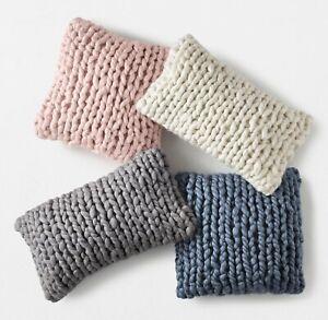 2 RH TEEN Chunky Hand Knit Pillow Covers QUARTZ NEW