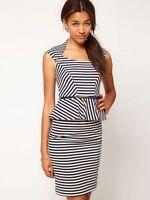 Women Ladies Blue White Stripe Stretch Bodycon Peplum Dress Topshop 8 10 12 14