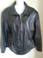 Women's Soft Black Leather Jacket - Coat - Blazer - Size Large - Wilsons Maxima