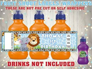 PERSONALISED Jungle Theme FRUIT SHOOT BOTTLE LABEL Party Bag Fillers PINK BLUE