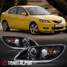 Fits 2004-2009 Mazda3 Mazda 3[Black/Clear]Amber Corner Projector Headlight Lamp