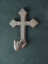 "Ornamental Iron Cross Coat Hook Cast Iron 5"" Wall Hook Sealed Aged Iron Finish"