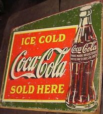 RETRO VINTAGE 1923 Ice Cold COKE Sold Here COCA COLA BOTTLE TIN SIGN metal  20s