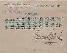 #RIFREDI:  PARTITO NAZ. FASCISTA -FASCIO DI RIFREDI-BIGLIETTO DATTILOSCRITTO...