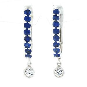 NEW 14k White Gold 1.02ct Prong Sapphire Bezel Diamond Dangle Drop Hoop Earrings