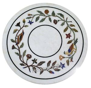 Round Marble Bed Side Table Top with Floral Border Art Coffee Table 14 Inches