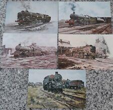 Set of N.U.R. Locomotive Christmas Cards from Paintings by Derek Jones 1970s