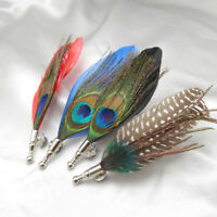 Peacock Feather Brooch Pin Tuxedo Shirt Suit Collar Boutonniere Corsage Button