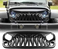 For 2007-2018 Jeep Wrangler JK Shark Style Black Front Upper Grill Grille Cover