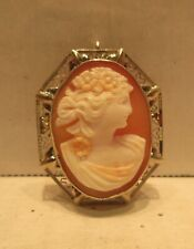 Jewelry 14K Gold Heart Frame 14 Karat Gold Cameo Pin Pendent
