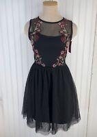 Xhilaration Women's Mesh Fit & Flare Dress - Black - Size: XS NEW