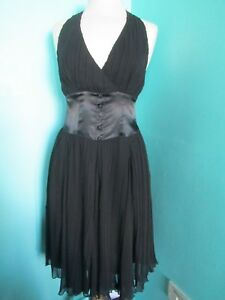 TODAYS WOMAN TW HALTER NECK DRESS SIZE 10 KNEE LENGTH PLEATED FULLY LINED
