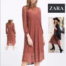 NWT $69.99 Sz. XS ZARA Brown Lace Long Sleeve Boho Festival midi Dress Lined