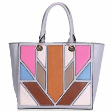 Grey Multi-coloured tote panel bag with top handles New with Tags