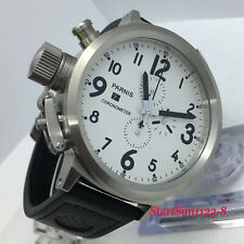 50mm PARNIS white dial day date Full chronograph big face quartz Men's watch 237