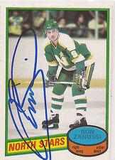 Ron Zanussi Signed 1980-81 O-Pee-Chee OPC Card #192 Minnesota North Stars
