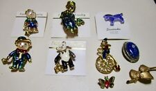 Lot Gold Tone & Enamel Teddy Bear Clowns Butterfly Horse Jewelry Brooches/Pins