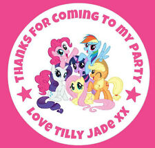 Personalised Round My Little Pony Birthday Party Stickers Sweet Cones Bags Label