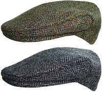 Mens Harris Tweed Flat Cap Country Style Bakerboy Caps Peaked Newsboy Hat
