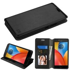 For Motorola Moto E4 PLUS Leather Flip Wallet Case Phone Cover Stand BLACK