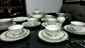 Art Déco Tee- oder Kaffeeservice mit Silberauflage