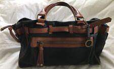 AUDREY BROOKE Black & Tan Large Leather Satchel Shoulder Purse Bag-MINT