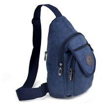 Westend Navy Crossbody Canvas Sling Bag Backpack with Adjustable Strap