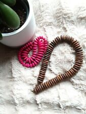 & Pink Wooded Necklace Lot 2 Tribal Brown Handmade Carved Bead Wooded Choker