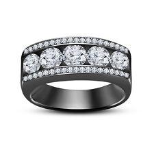 Women's 925 Silver Black Gold Finish Lab Diamond Five Stone Wedding Band Ring