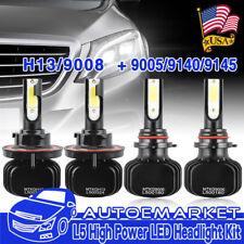 H13 9008 LED Headlight+9145 9140 Fog Lights Combo Pack for 2004-2014 Ford F-150