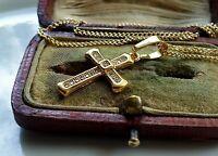 GENUINE 9ct Gold Cross gf,Packed fFULL of Gemstones,MUST SEE, STUNNING {e25