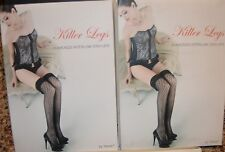 0c949a4daa 2 Pair LOT Killer Legs Fishnet Pantyhose BLACK Diamond Stayups Thigh-highs  OS B3