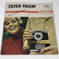Vtg 1963 ZEISS IKON CONTRAFLEX Super B SLR Camera Advertising Brochure