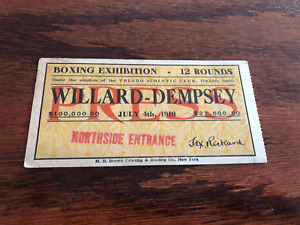 Rare ORIGINAL VINTAGE 1919 Jack Dempsey  vs Jess Willard BOXING Ticket