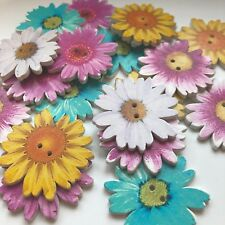 Daisy Flower Craft Pack 20 X Large Wooden Buttons For Arts And Crafts