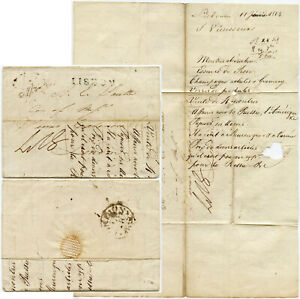 PORTUGAL 1812 LONDON FOREIGN DOUBLE RING + LISBON UNFRAMED L2