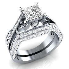 Certified 3.50CT White Princess Cut Diamond Engagement Ring Set 14K White Gold