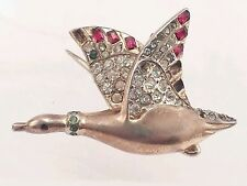 Coro Sterling & Rhinestone Flying Duck Goose Brooch clip from duette geese ducks