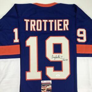 Autographed/Signed BRYAN TROTTIER HOF 97 New York Blue Hockey Jersey JSA COA