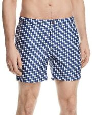 NEW BLOOMINGDALE'S COBALT BLUE WHITE DIAGONAL CHECKERED CALDER 5 SWIM TRUNKS *L